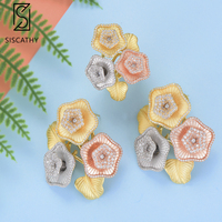 Siscathy Fashion Dubai Indian Bridal Wedding Flower Jewelry Sets Full Cubic Zirconia Stud Earrings Resizable Ring Jewelry Sets