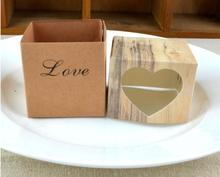 100 pieces Hollow Cookie Candy Box Heart Kraft Boxes With Rustic Burlap Food Container DIY Favors Birthday Wedding Gifts