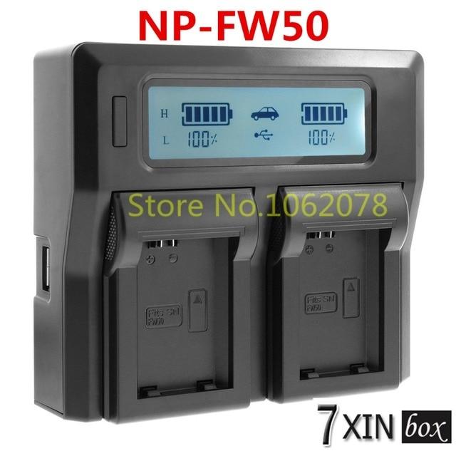 Lcd dual carregador para sony np-fw50 2-bateria a6100 a6300 a7r A7S A7 A3500 II NEX7 NEX-3 NEX-5 SLT-A33 SLT-A35 SLT-A55 A5100