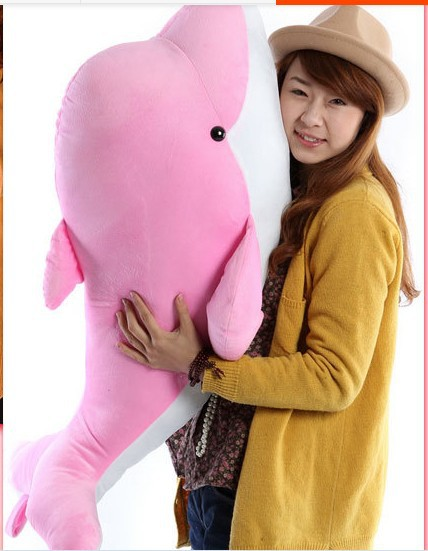 big lovely dolphin plush toy stuffed dolphin pillow birthday gift toy about 95cm pink