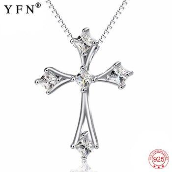 5b568f5cc960 925 plata esterlina Cruz Cristo Jesús colgantes collares mujeres religiosas  cristal CZ misericordia envío de la gota de la joyería regalos GNX12826
