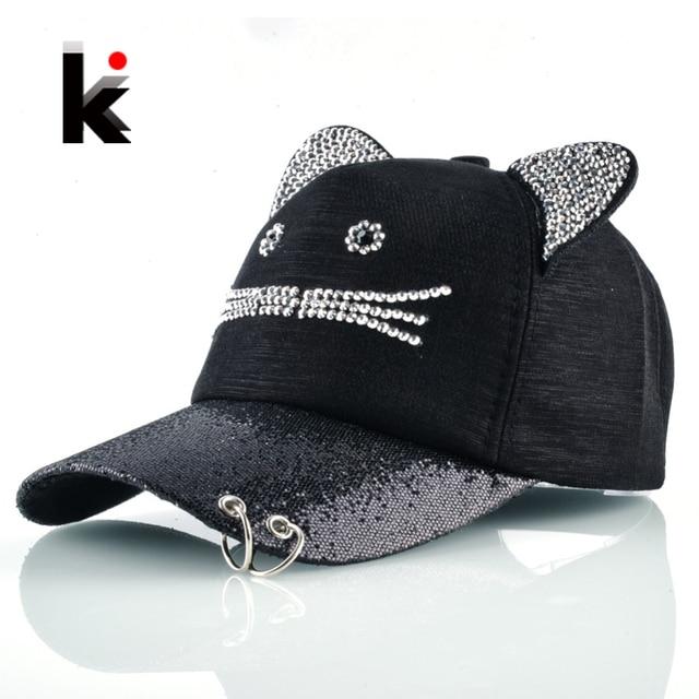 57db71ffeee Girls Flashing Rhinestone Baseball Cap With Cute Cat Ears Snapback Hip Hop  Hats For Women Drake Metal Ring Trucker Bone Feminino