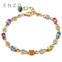 ENZO Citrine/Tourmaline/Garnet/Peridot/Topaz/Diamond Various gems 18K Yellow Gold Bracelet Fashion Bracelets Woman Jewelry