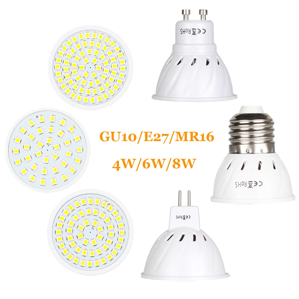 Super Bright GU10 MR16 E27 LED Spotlight 4W 6W 8W 220V 110V Lamp Lampada LED Bulb 36Led 54Led 72Led Energy Saving Home Lighitng