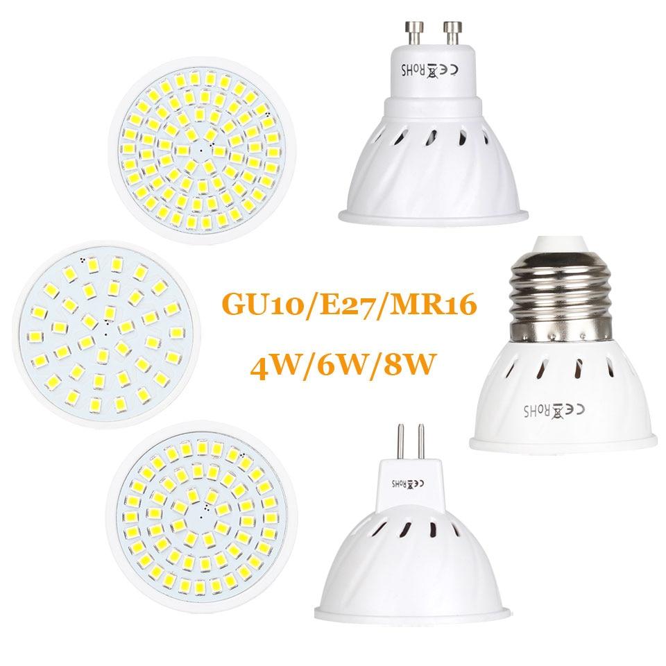 Super Bright GU10 MR16 E27 LED Spotlight 4W 6W 8W 220V 110V Lamp Lampada LED Bulb 36Led 54Led 72Led Energy Saving Home Lighitng