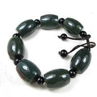 Natural Dark Green Stone Bracelet Round Bead Shape Hand String Bracelet Bangles Gift for Boyfriend Stone Jewelry