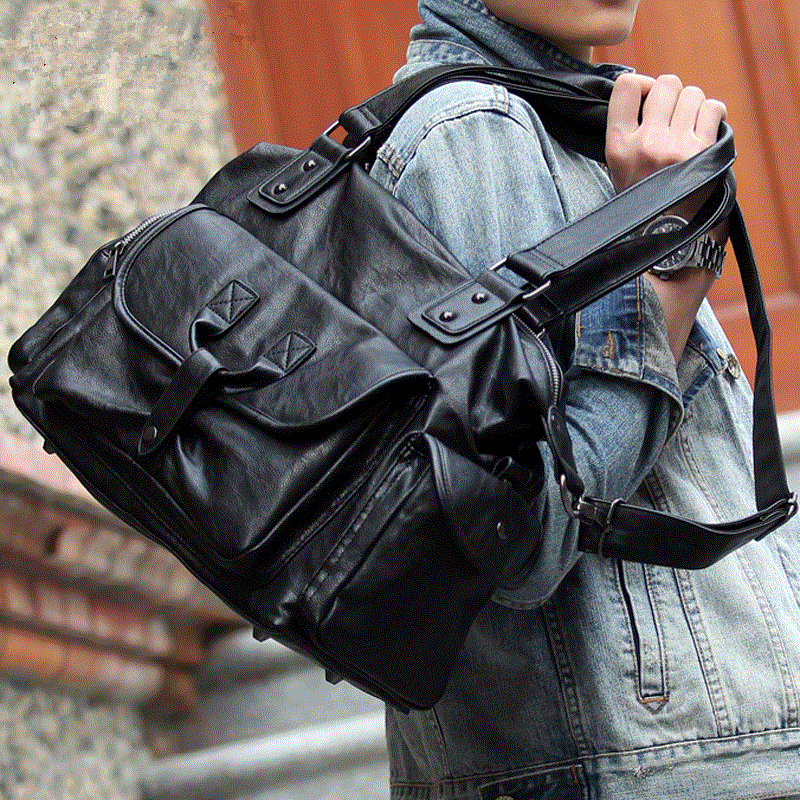 Burminsa Large Capacity Men Messenger Bags Weekend Duffle Bags Designer Handbags High Quality PU Leather Travel