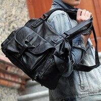 Burminsa Large Capacity Men Messenger Bags Weekend Duffle Bags Designer Handbags High Quality PU Leather Travel Shoulder Bags