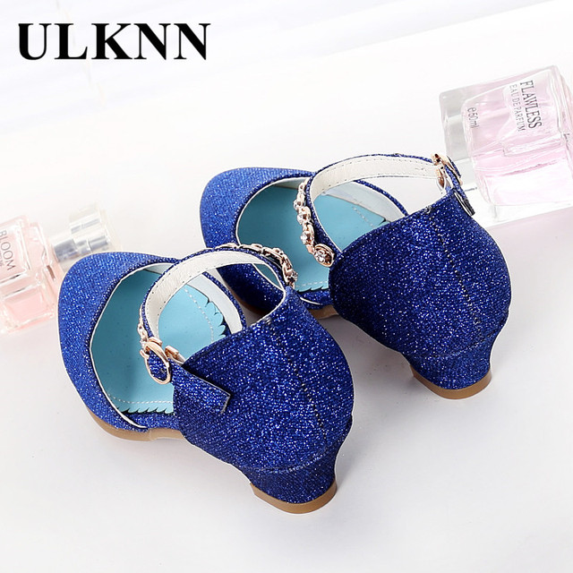 ULKNN Princess Girls Sandals Kids Shoes For Girls Dress Shoes Little High Heel Glitter Summer Party Wedding Sandal Children Shoe 3