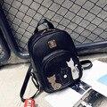 New Cat Backpack Black Preppy Style School Backpacks Funny Quality Pu Leather Fashion Women Shoulder Bag Travel Back Pack Sac