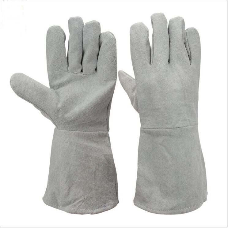 все цены на Two layers of leather long section protective welding gloves site handling wear-resistant insulation welder gloves онлайн