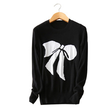 black with white bow print pullovers 3 color standard sweater 100% pure cashmere long sleeves O-neck autumn/winter clothings