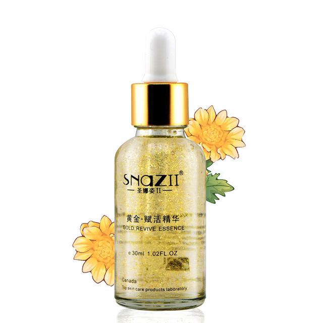 Snazii 24 k Pure Gold Foil Essence ácido hialurônico líquido creme de clareamento hidratante Anti envelhecimento creme de tratamento da pele