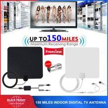150 Mijl Indoor DTV Digitale Tv antenne HDTV Antena HD Kabel TV Antena met Signaalversterker Booster DVB T/T2 UHF VHF Antennes