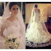 Свадебные платья в винтажном стиле с длинными рукавами и рюшами