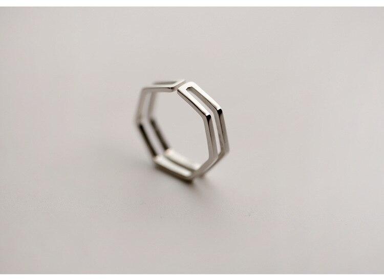 Punk Trendy Silver Color Hexagon Big Rings for Women Luxury Jewelry Adjustable Antique Rings Anillos joyas de plata 4