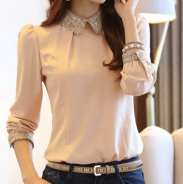 Новинка весны, модная женская элегантная тонкая Базовая рубашка с длинным рукавом, шифоновая рубашка, блузка, женские милые топы, camisas blusa - Цвет: Розовый