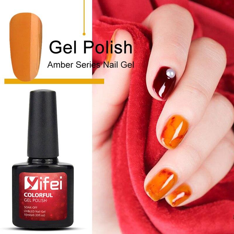 YIFEI Translucent Candy Color Gel Nail Polish Varnish
