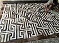 Moderno mosaico hecho a mano de coser piel de vaca alfombra de la sala de estar grande diseño de piel de vaca de pelo carpet
