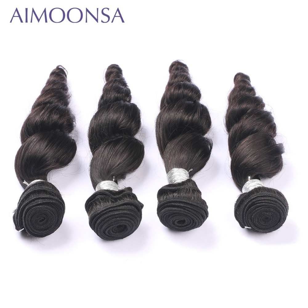 4 Bundles Brazilian Loose Wave Human Hair Extension Remy Hair Weave For Black Women Natural Color 10-26 Inch Free Shipping