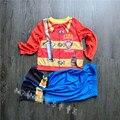 Мальчика пижамы Хлопчатобумажные Пижамы Пожарный Мультфильм Loungewear Дети Мальчики Домашняя Одежда Осень Пижамы хэллоуин костюмы для детей