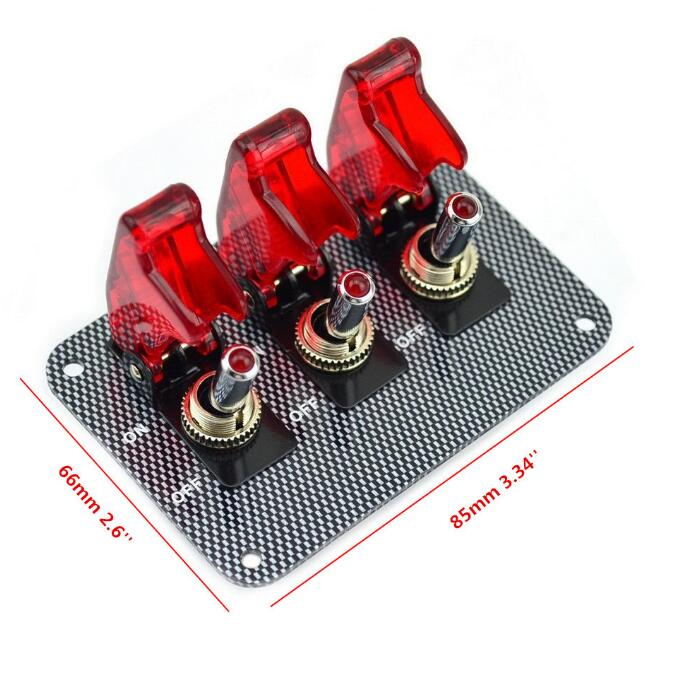 цены 12v Red LED Safety Cover Aircraft Toggle Switch Carbon Fiber Surface Panel