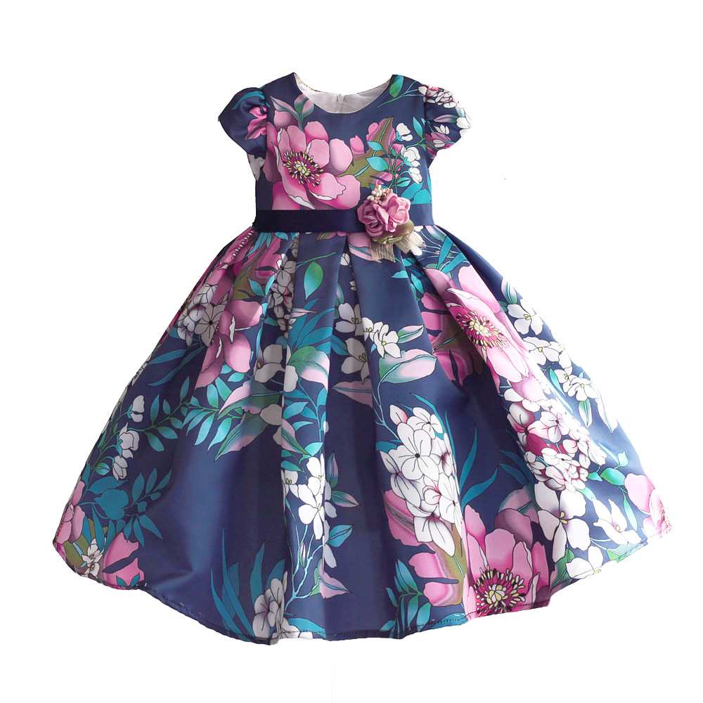 Floral Girls Dress Blue Hi-lo Party Wedding Summer Princess Wedding Kids Dresses for Girl Clothes Dancing Pageant Size 3-8T autumn girl dress rose floral short sleeve princess baby girls lace dresses with 3 bow belt kid party wedding clothes 3 8t
