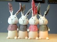 23 cm resina e panno coniglio salvadanaio con panno orecchie faccia e camicia a quadri grande salvadanaio