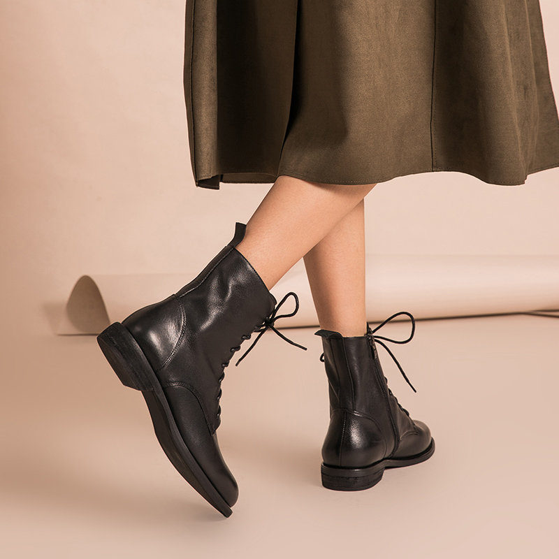 BeauToday Ankle Boots Women Genuine Leather Lace Up Side Zipper Top Quality Autumn Winter Lady Shoes Handmade 02012 - 2