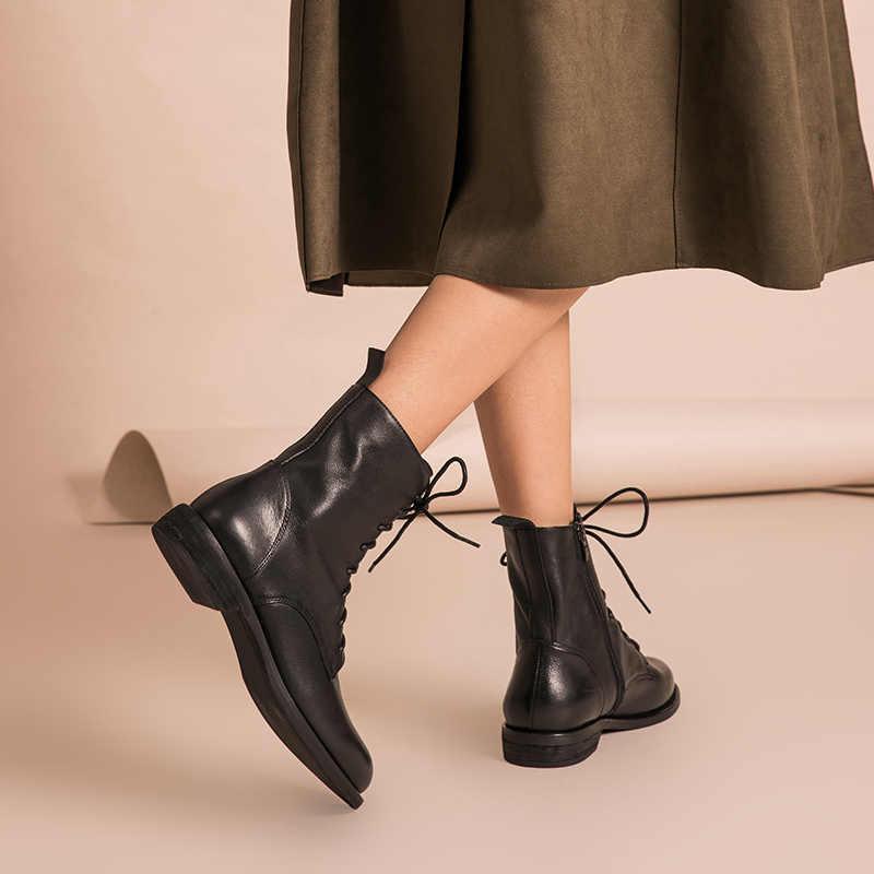 BeauToday รองเท้าหนังแท้ LACE-Up ด้านซิปคุณภาพสูงฤดูใบไม้ร่วงฤดูหนาว Lady รองเท้า Handmade 02012