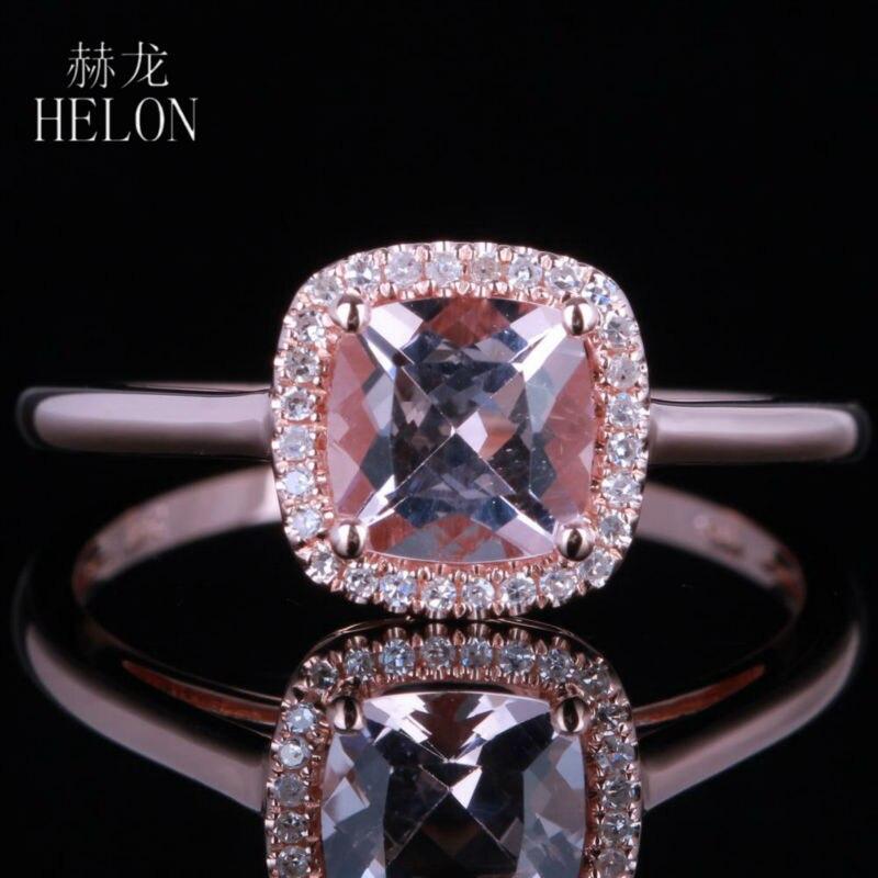 купить HELON 6mm Cushion 0.82ct Morganite Pave Natural Diamonds Engagement Wedding Halo Ring Solid 14K Rose Gold Women's Jewelry Ring по цене 14915.04 рублей