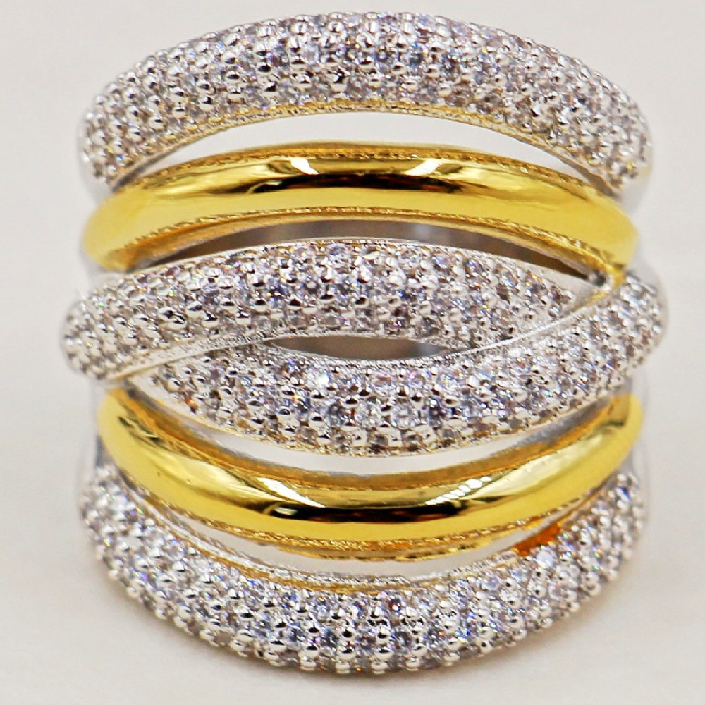 Women S Fashion Cocktail Jewelry Luxury 10KT White Yellow Gold Filled Rings More X Type Pave