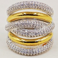 Women's Fashion Cocktail Jewelry Luxury 10KT White&yellow Gold Filled Rings More X type Pave setting full 5a Zircon Ring gift