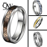 Queenwish 6mm Sliver Tungsten Carbide Ring Sliver Glod 18K Rose Gold Celtic Dragon Matching Wedding Band