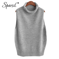 Sparsil Cashmere Wool Knitted Vest Ladies Loose Turtleneck Sweater Solid Vests Autumn and Winter Sleeveless Soft Casual Pullover