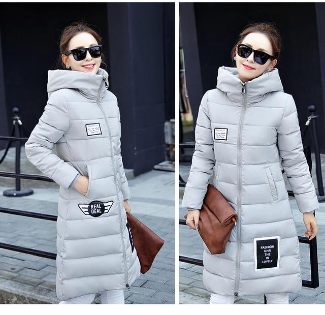 AS34 2016 Womens Winter Down Jackets Coats Female Warm Parka Long Cotton-Padded Hood Jacket Women