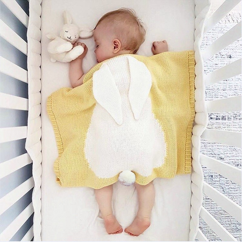 Baby Kids Knitted Cotton Blanket Soft/Cozy Breathable Toddler Swaddling Wrap Cute Sleeping Bags For Newborn Bedding Blankets | Happy Baby Mama