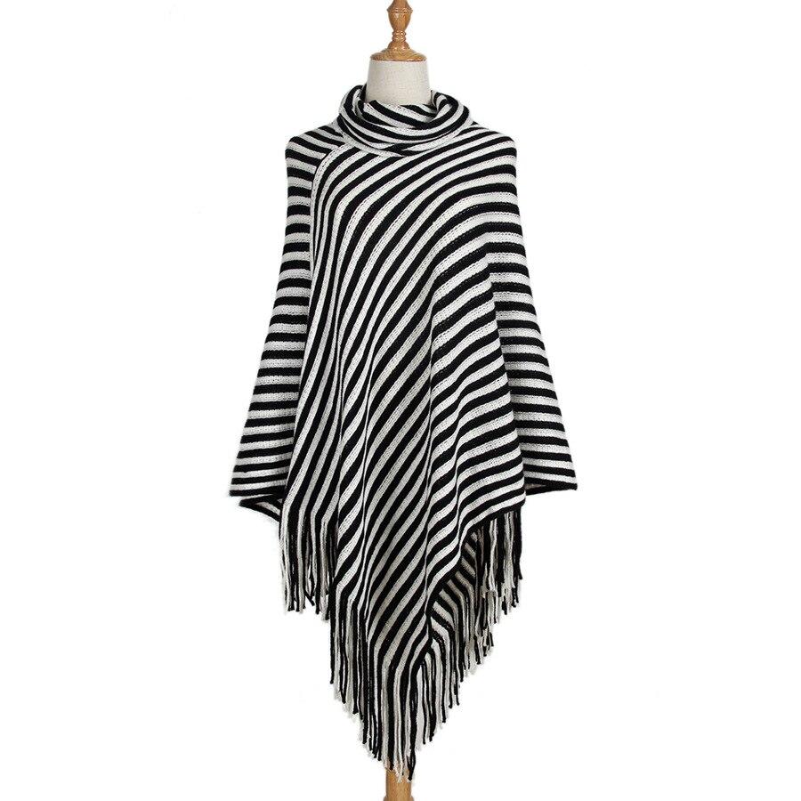 Autumn Winter Women Sweater Female Batwing Stripes Fringed Pullovers Women Tops Irregularity Sweater Women coat Tassel Outwear