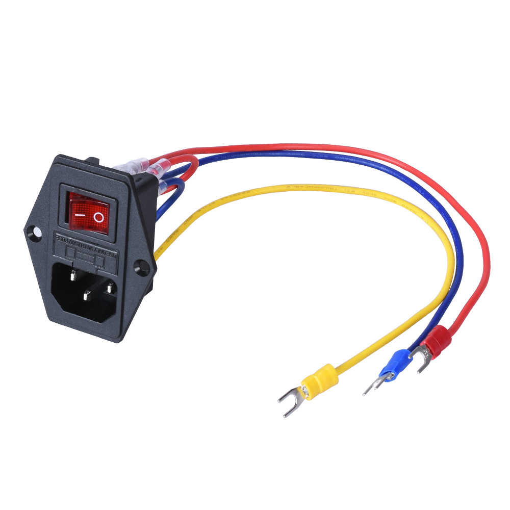 15A 250V Power switch AC 3pin AC power socket with red triple Rocker Ac Power Switch Wiring on