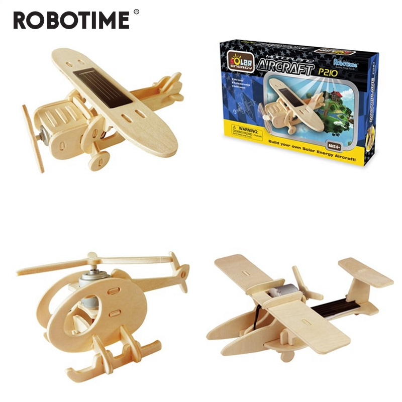Robotime 5 sortes bricolage énergie solaire alimenté jouet avion 3D en bois assemblé modèle construction jouets cadeau pour enfants adulte P250