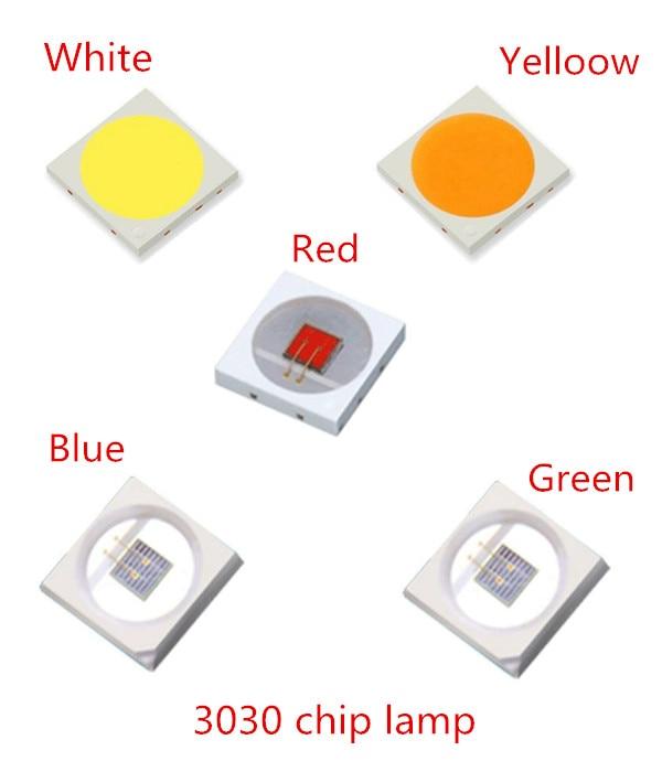 105PCS LED SMD 3030 Chip 1W 3V 6V 350MA 130LM Red Blue Green White Warm Full Power Watt Lamp Bead LED Light Emitting Diode Lamp