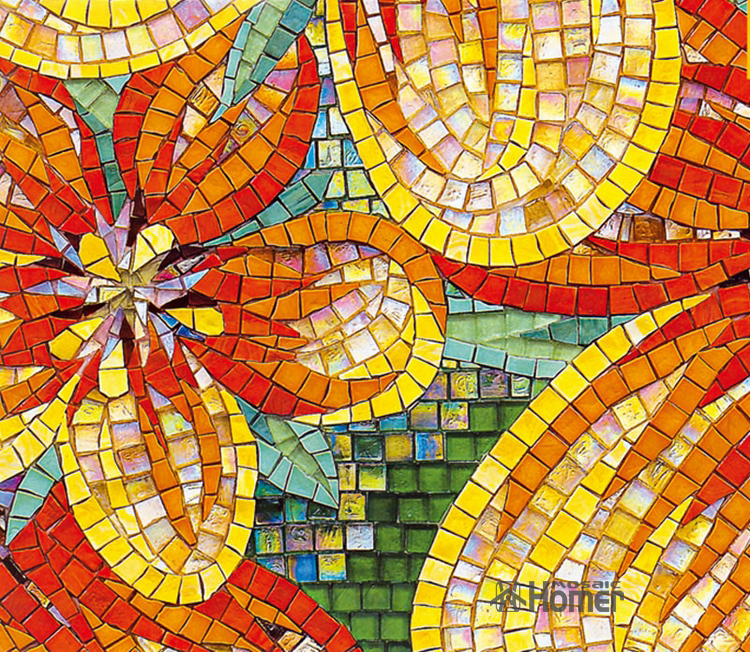 Express Free Shipping Flowers Design Glass Mosaic Tiles