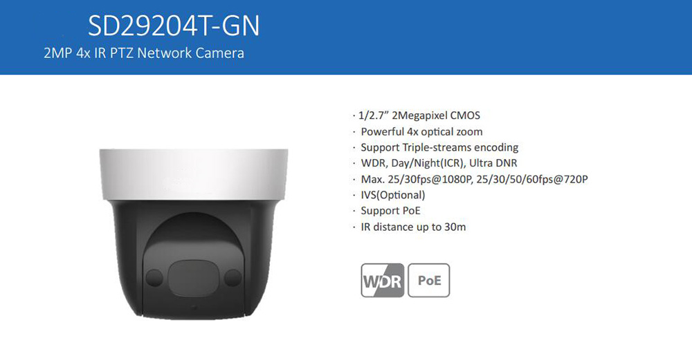 Free Shipping DAHUA Security IP Camera 2MP FULL HD 4x IR PTZ Network Camera Support PoE Without Logo SD29204T-GN