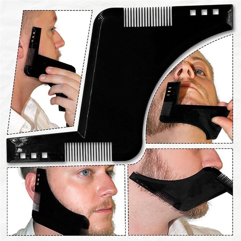 1pcs Shaving Brush Men's Beard Care Grooming Shaping Plastic Comb Shaving Symmetric Beards Shaper Hairdressing Styling Beard Kit