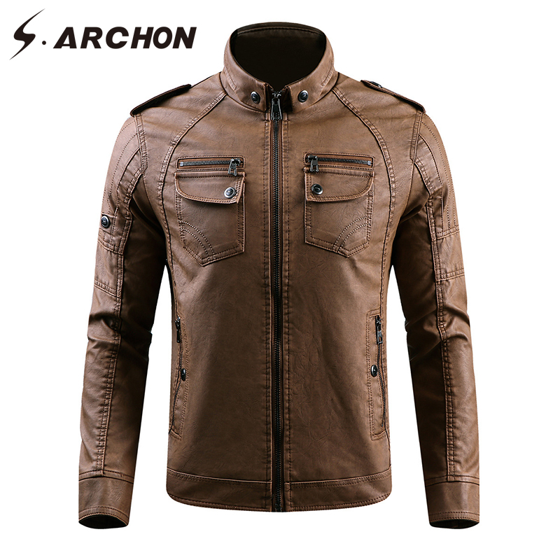 S.ARCHON Winter PU Leather Warm Jacket Men Windbreaker Tactical Leather Motorcycle Jacke ...