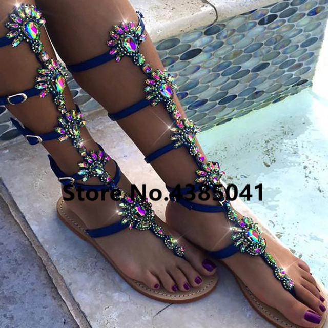 Bohemia Style Summer Flats Sandal Gladiator Gold Rhinestone Knee High Buckle Strap Woman Boots Crystal Beach Shoes Plus size 43