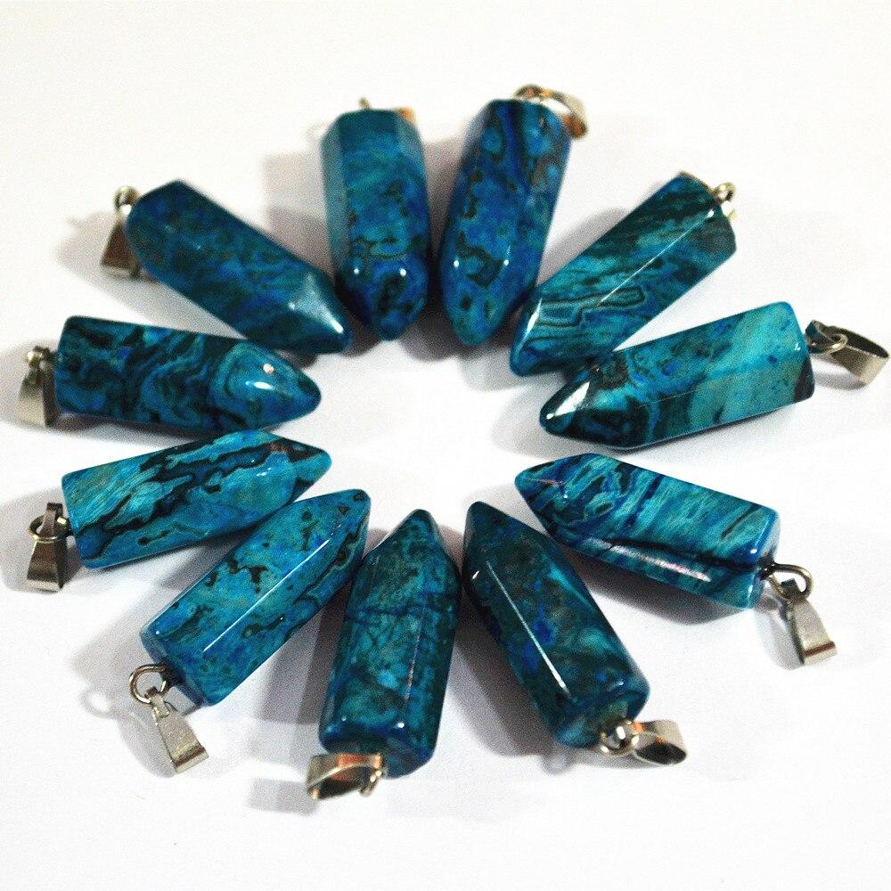 Wholesale Fashion Natural  Blue Crazy Onyx Stone Pendants Charm Pillar Pendulum For Necklace Jewelry Making 24PCS Free Shipping