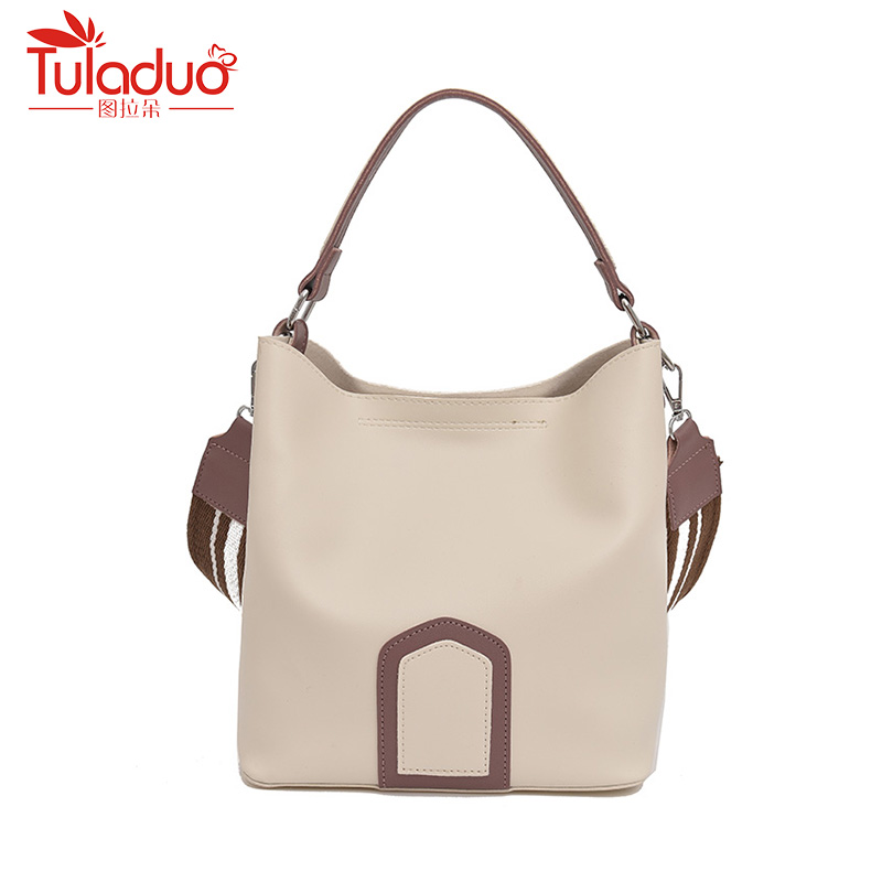 Fashion Brand Luxury Handbags Women Bags Designer Bucket Shoulder Bags High Quality Leather Bag Women Wide Strap Ladies Bag Tote