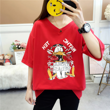 MILINSUS 2019 New summer Plus size T shirts women kawaii 90s fashion V-neck Loose short sleeve Female Tshirt Red Cartoon tops
