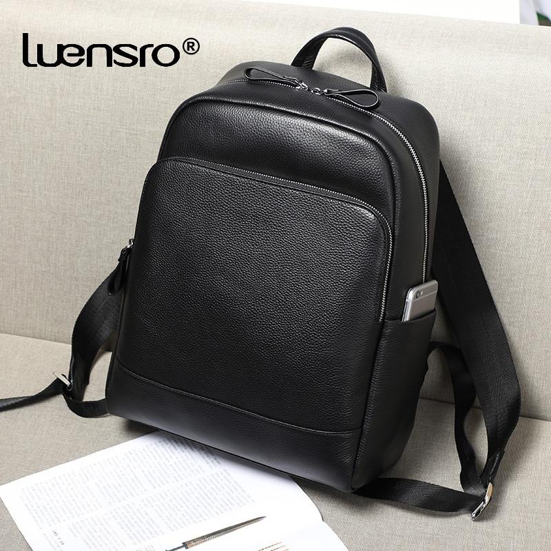 Luensro Large Capacity Men s Genuine Leather Backpack Laptop Bag Male School Bag Men Daypacks Korea